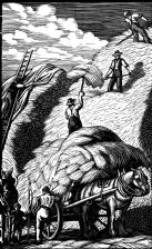 wood-engraving original print: Ricking for Farmer's Glory